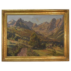 Oil Painting by Leopald Beran Mountain Range Landscape Newcomb Macklin Frame
