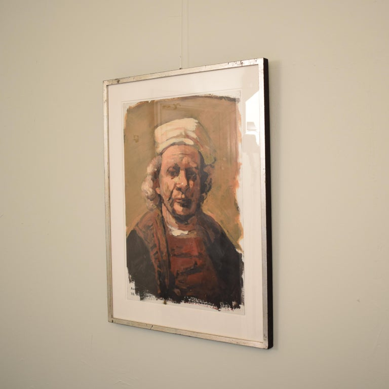 This very well painted and framed oil painting by Lutz Friedel is from his exhibition:  Counter images, afterimages my self portraits between 1635 and 2008 Painting over exhibition posters, oil. Measures: 59.4 x 42 cm