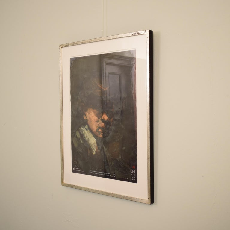 This very well painted and framed oil painting by Lutz Friedel is from his exhibition:  Counterimages, afterimages my self-portraits between 1635 and 2008 Painting over exhibition posters, oil • 59.4 x 42 cm