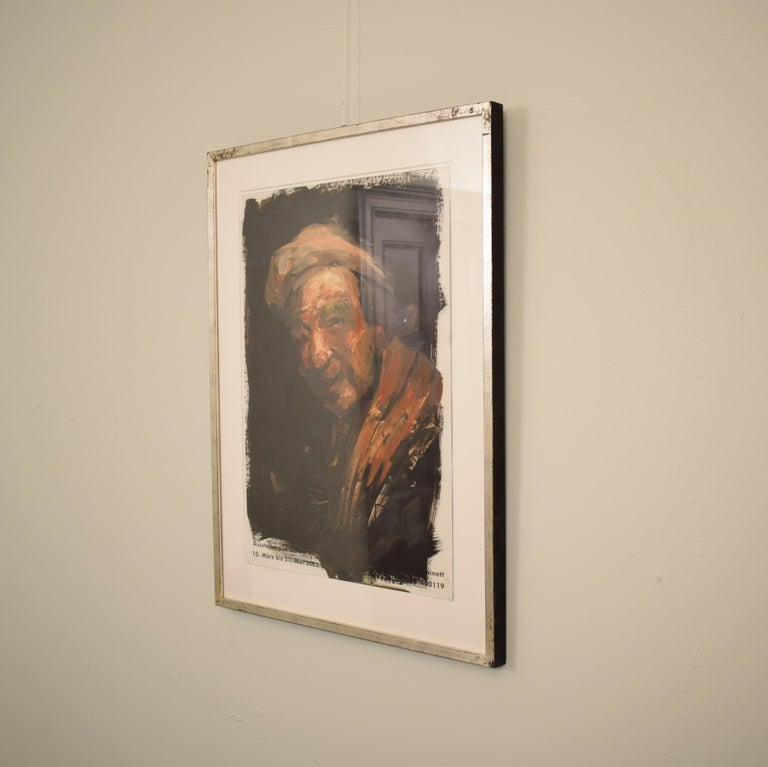 This very well painted and framed oil painting by Lutz Friedel is from his exhibition:  Counterimages - afterimages my self portraits between 1635 and 2008 Painting over exhibition posters, oil · 59.4 x 42 cm