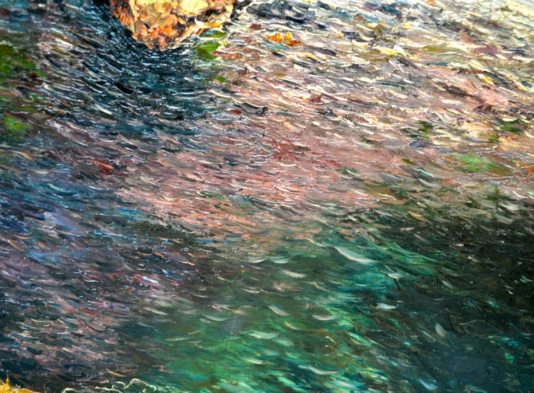 Painted Oil Painting of the Capri Coastline by Matteo Sarno For Sale