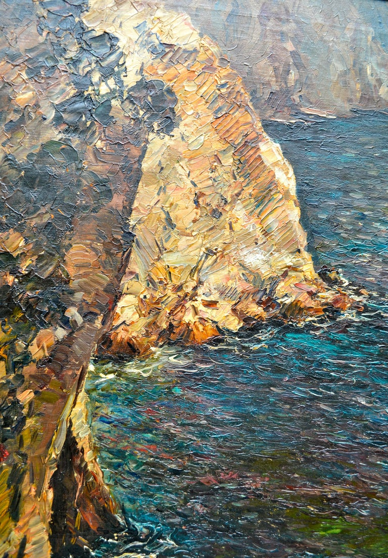 Oil Painting of the Capri Coastline by Matteo Sarno In Good Condition For Sale In Vancouver, British Columbia