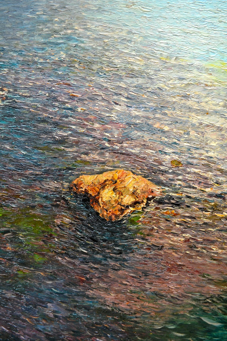 Canvas Oil Painting of the Capri Coastline by Matteo Sarno For Sale