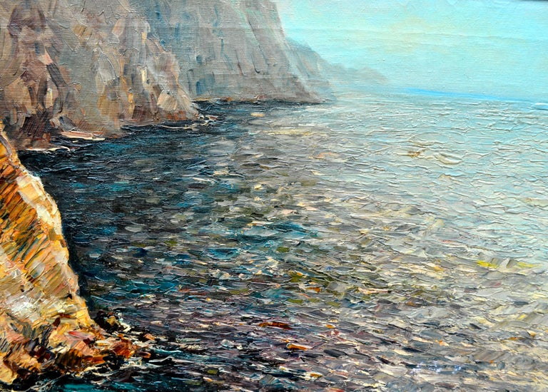 Oil Painting of the Capri Coastline by Matteo Sarno For Sale 1