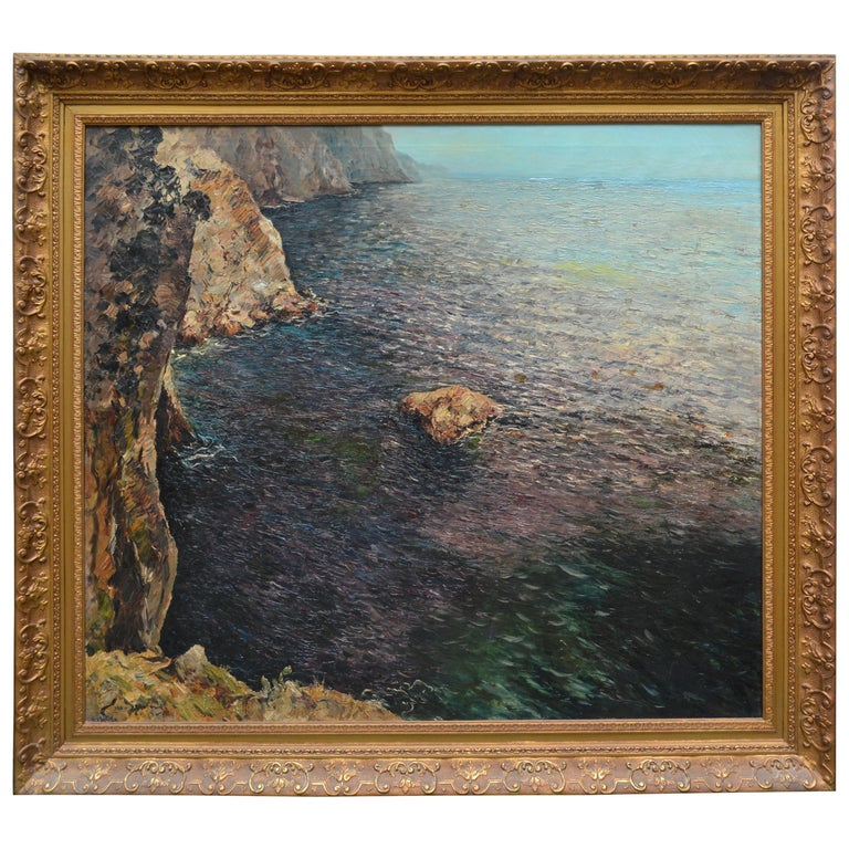 Oil Painting of the Capri Coastline by Matteo Sarno For Sale