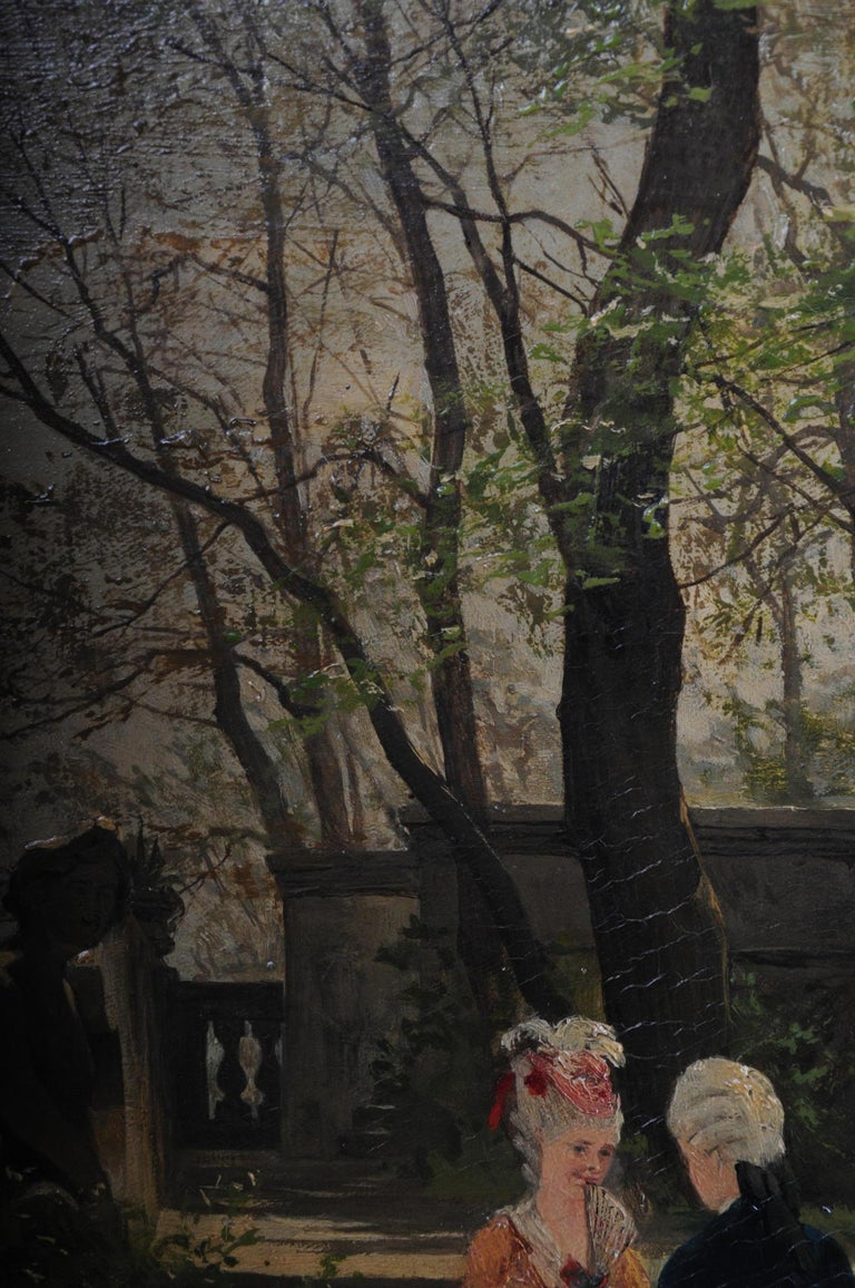 Oil Painting by P. F. Flickel in the Castle Garden For Sale 7