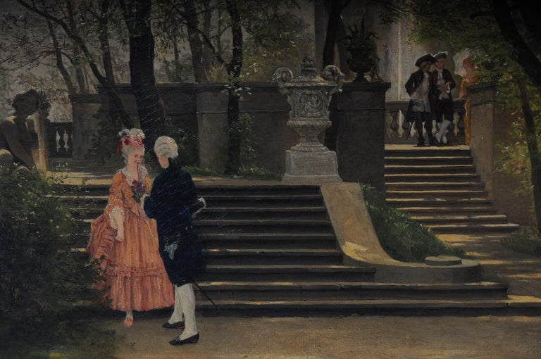 Oil painting by P. F. Flickel in the castle garden  Oil on canvas painted painting. Representation of an opposing, gallant Rococo pair in front of the stairs of the castle garden. Two well-heeled gentlemen are also watching in the background.