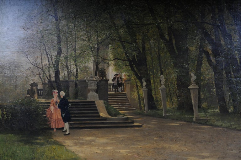 German Oil Painting by P. F. Flickel in the Castle Garden For Sale