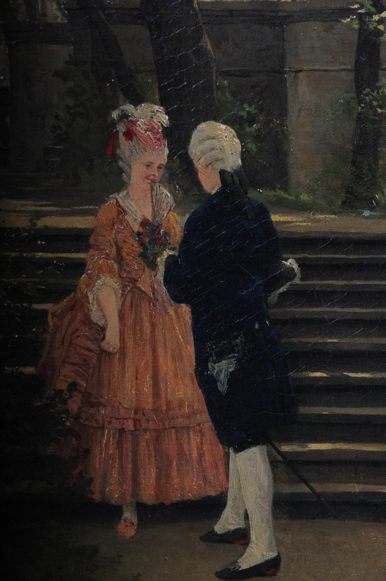 Hand-Painted Oil Painting by P. F. Flickel in the Castle Garden For Sale