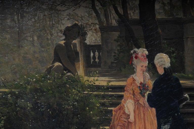 Oil Painting by P. F. Flickel in the Castle Garden In Good Condition For Sale In Berlin, DE