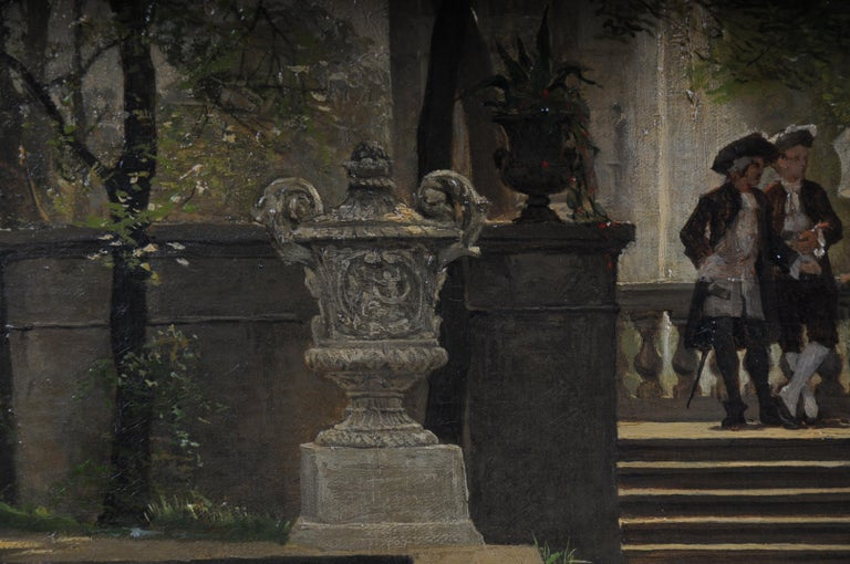 19th Century Oil Painting by P. F. Flickel in the Castle Garden For Sale