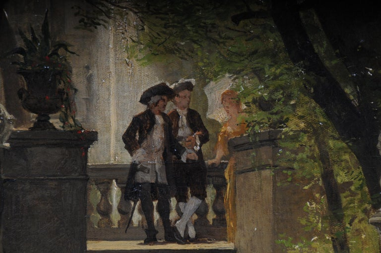 Canvas Oil Painting by P. F. Flickel in the Castle Garden For Sale