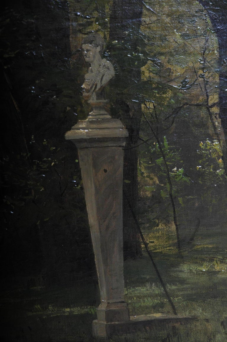 Oil Painting by P. F. Flickel in the Castle Garden For Sale 2