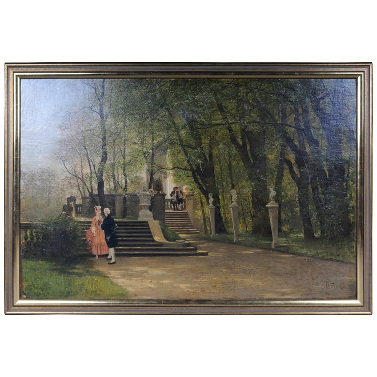 Oil Painting by P. F. Flickel in the Castle Garden For Sale