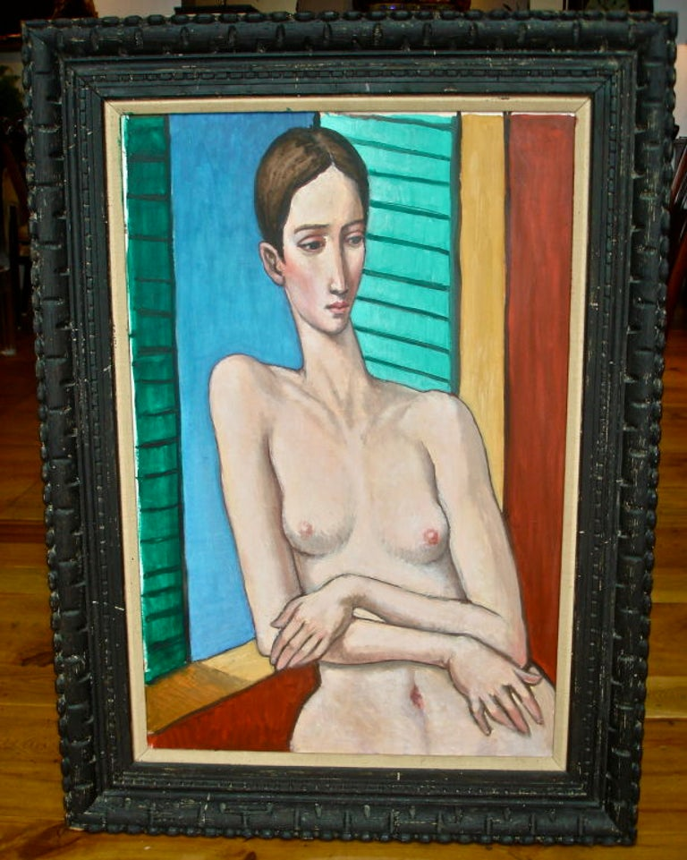 Master work of Sabatino Abate (1946-2011). Nude self portrait by Abate Whose Life Transformed Many. Studied at the Boston Museum of fine Arts, Museum School, The Fogg Museum. Top Expert in Raphael's Work and Art Historian.