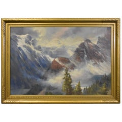 Oil Painting Canadian Mountain Scene Alice Blair Thomas