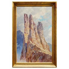 "Oil Painting Climbers, Alps Mountains, ""Le Torri del Vajolet"", J. Magerle, 1944"