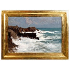 Oil Painting, Coastal Landscape by Alfred Zoff, Austria, Around 1900