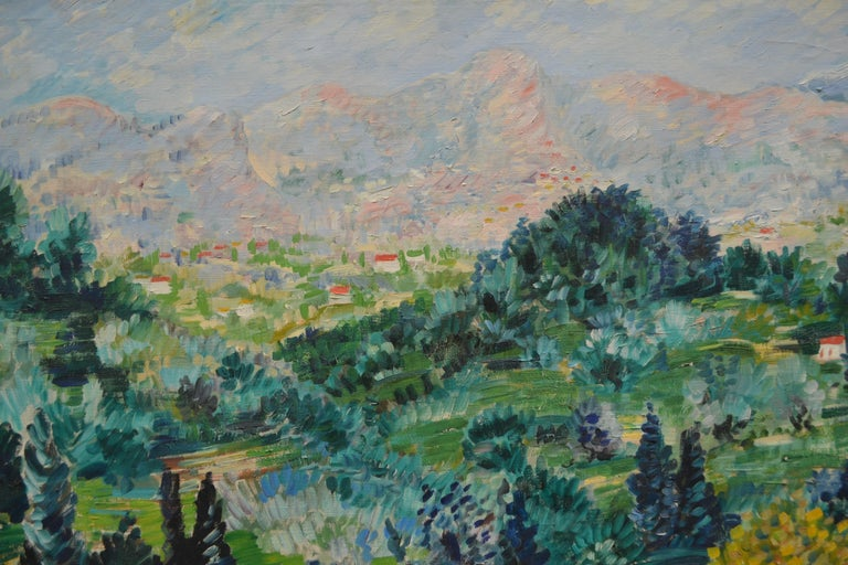French Provincial Oil Painting Depicting a Landscape in the South of France by Johannes Schiefer For Sale