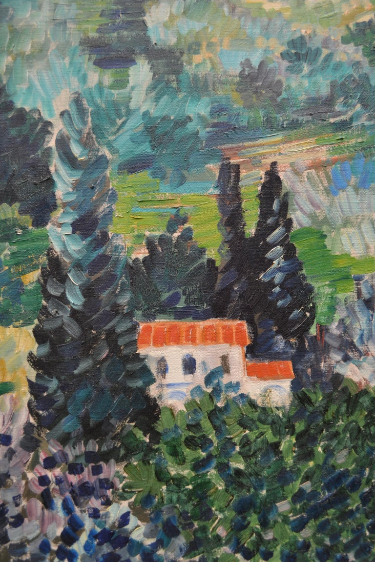 French Oil Painting Depicting a Landscape in the South of France by Johannes Schiefer For Sale