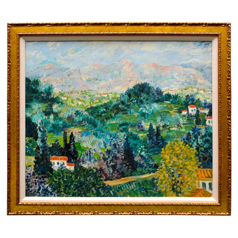 Oil Painting Depicting a Landscape in the South of France by Johannes Schiefer For Sale