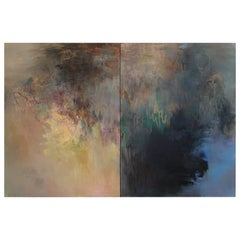 """Oil Painting Diptych """"November Composition"""" by Beatrice Findlay, 1991"""