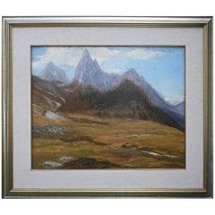 """Oil Painting, Dolomites, """"Monte Tuglia"""", Marcelliano Canciani, 1910s"""