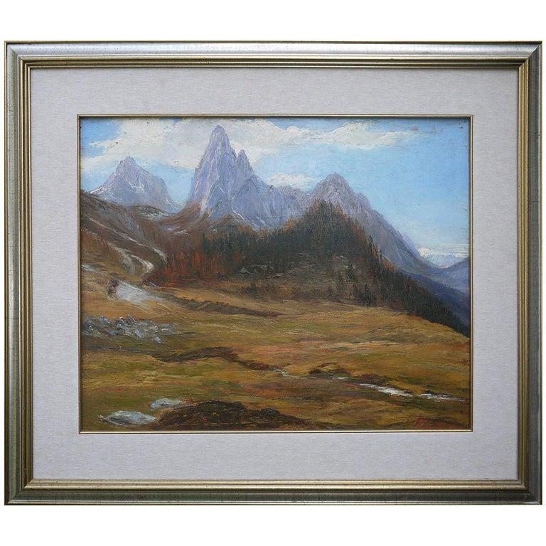 """Oil Painting, Dolomites, """"Monte Tuglia"""", Marcelliano Canciani, 1910s For Sale"""