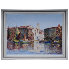 Oil Painting Fish Harbor of St. Tropez, 20th Century