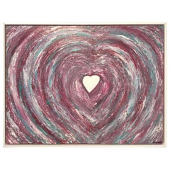 Oil Painting Framed Abstract Heart on Canvas by Franchy