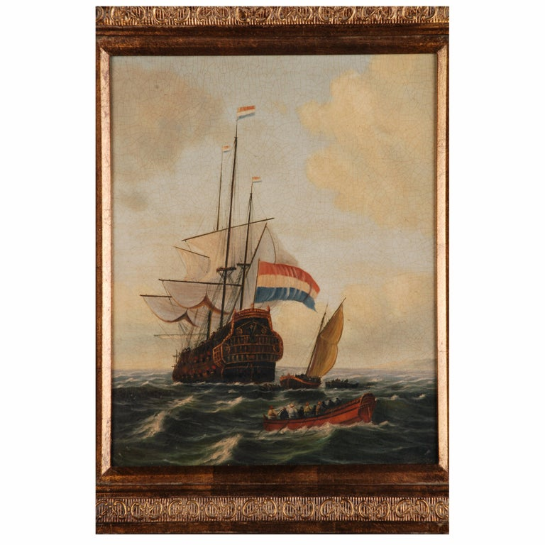 Oil Painting  dutch sail galleon in the Ocean For Sale 3