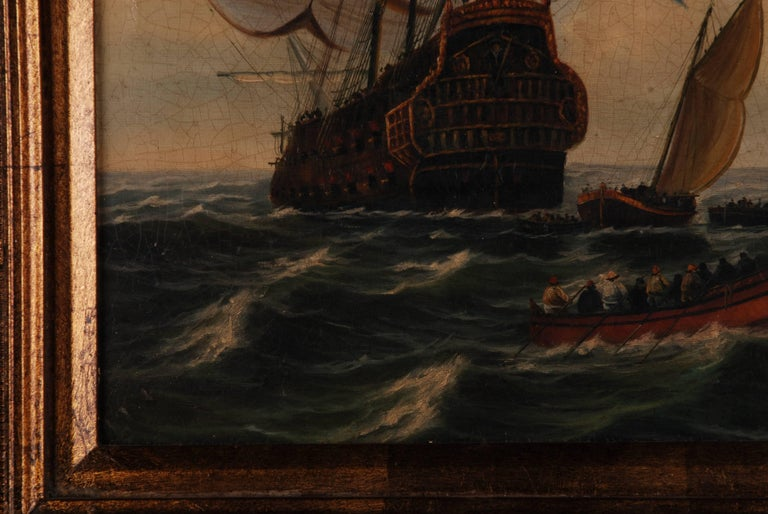 French Provincial Oil Painting  dutch sail galleon in the Ocean For Sale