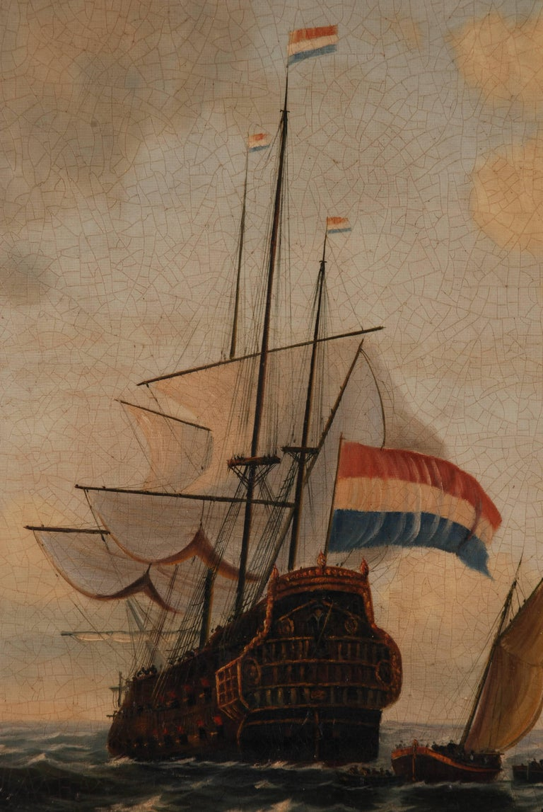 19th Century Oil Painting  dutch sail galleon in the Ocean For Sale