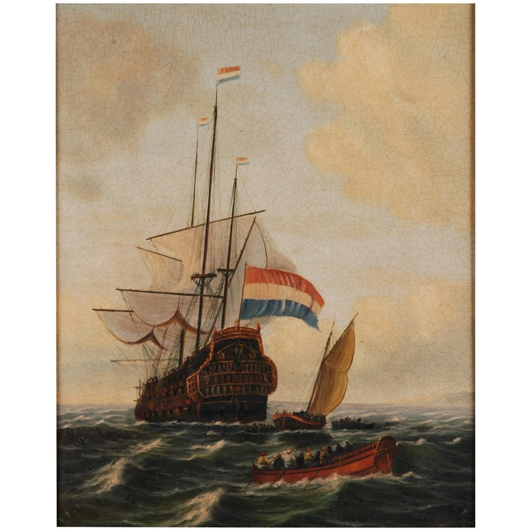 Oil Painting  dutch sail galleon in the Ocean For Sale