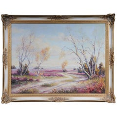 Oil Painting Idyllic Autumn Landscape Signed, 20th Century