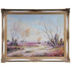 Oil Painting Idyllic Autumn Landscape Signed, 20th Century