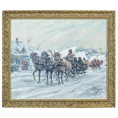 Oil Painting in a Golden Frame Signed by Z. Cygan, circa 1970