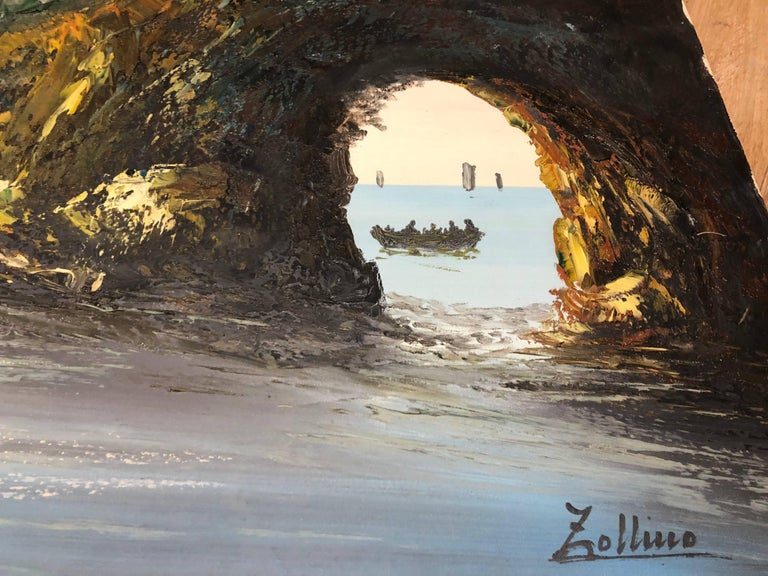 Beautiful sea / ocean Italian coast oil painting on canvas painted by the famous artist Alviero Zollino. Signed on the right down corner.  INTERNATIONAL SHIPPING Our transportation of antique furniture and items is executed with utmost care and