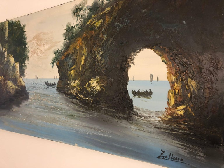 Hand-Painted Oil Painting Sea Coast by Alviero Zollino Italy  For Sale