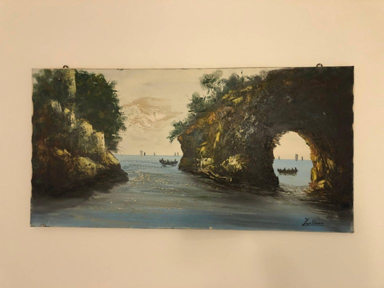 Oil Painting Sea Coast by Alviero Zollino Italy  In Excellent Condition For Sale In London, GB
