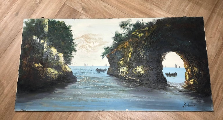 Mid-20th Century Oil Painting Sea Coast by Alviero Zollino Italy  For Sale