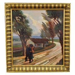 Oil Painting Kissing Lovers on a Country Road