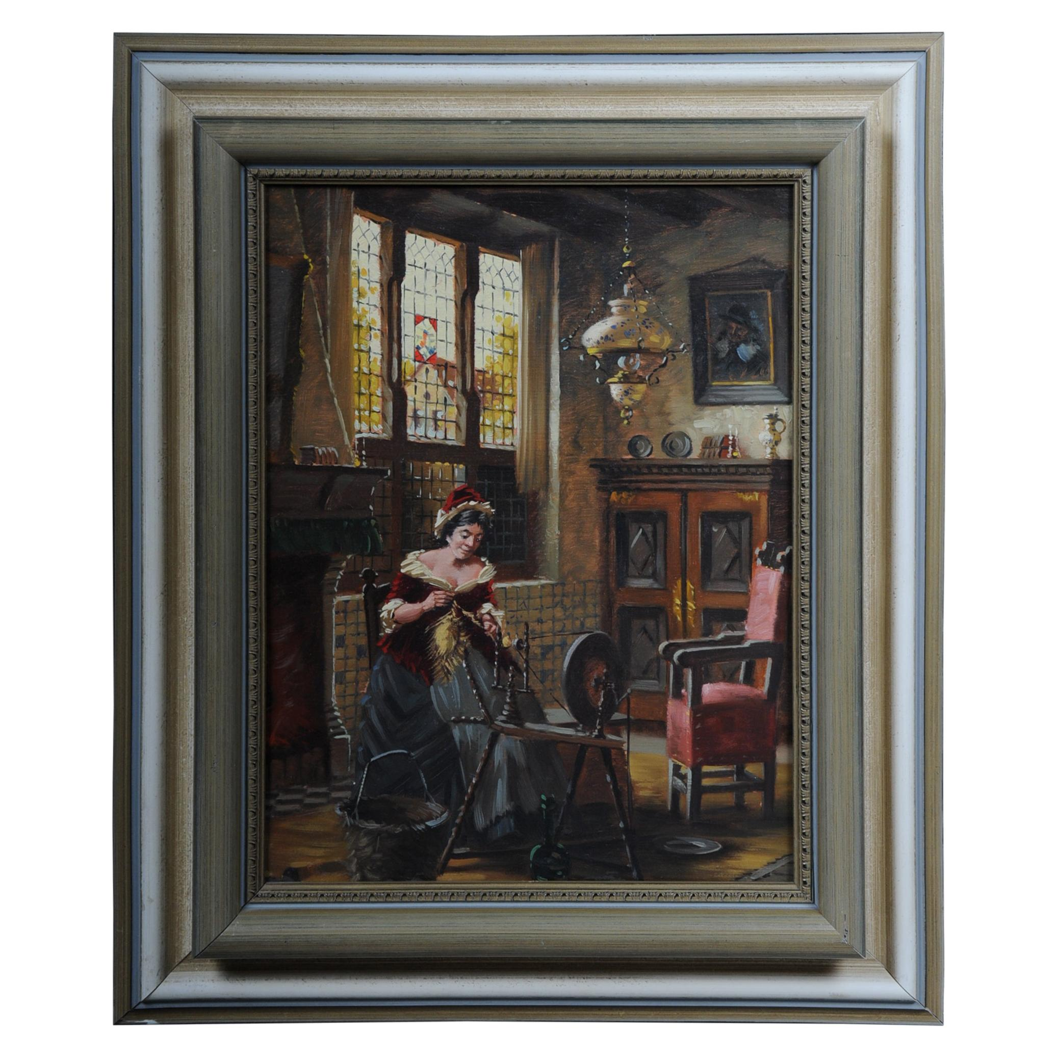 Oil Painting Lady at the Spinning Wheel, 20th Century