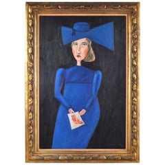 Oil Painting, Lady in Blue, by Benjamin Levy