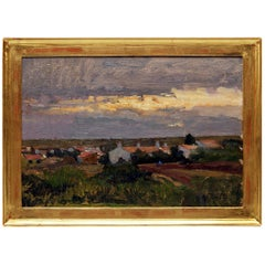 Oil Painting Landscape Village Oil Wood Alfred Zoff, Austrian, circa 1900
