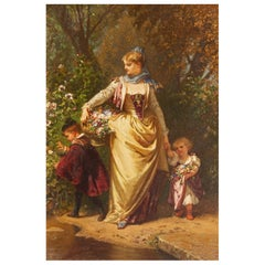Oil Painting Mother and Children in the Garden by Henri Baron