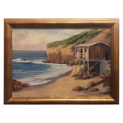 "Oil Painting ""Oceanscape with Beach Bungalow"" Signed H. Rosa, circa 1920-1940"