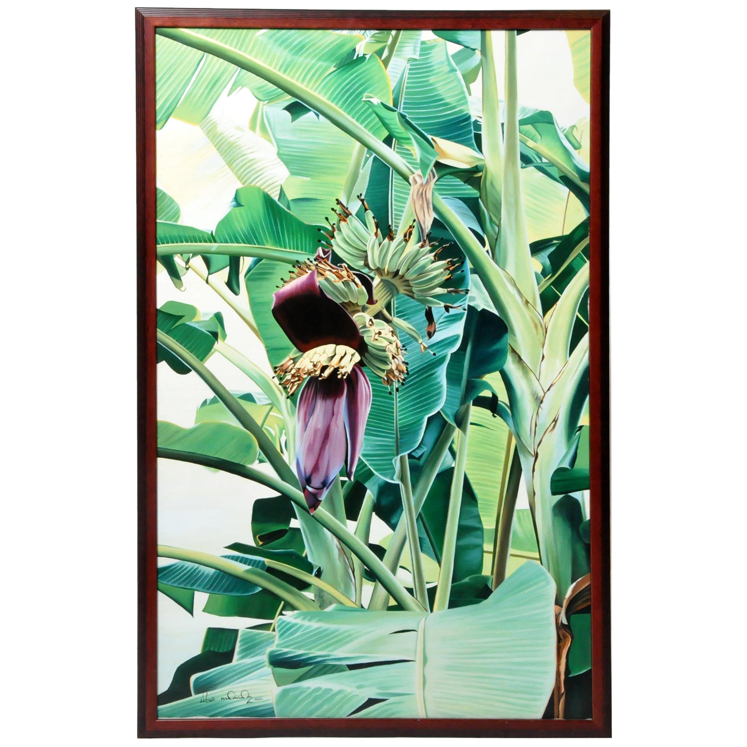 Oil Painting of a Banana Tree in Blossom