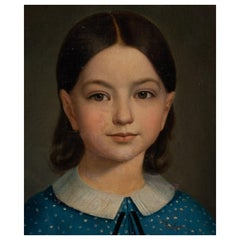 Oil Painting of a Girl in Blue Dress