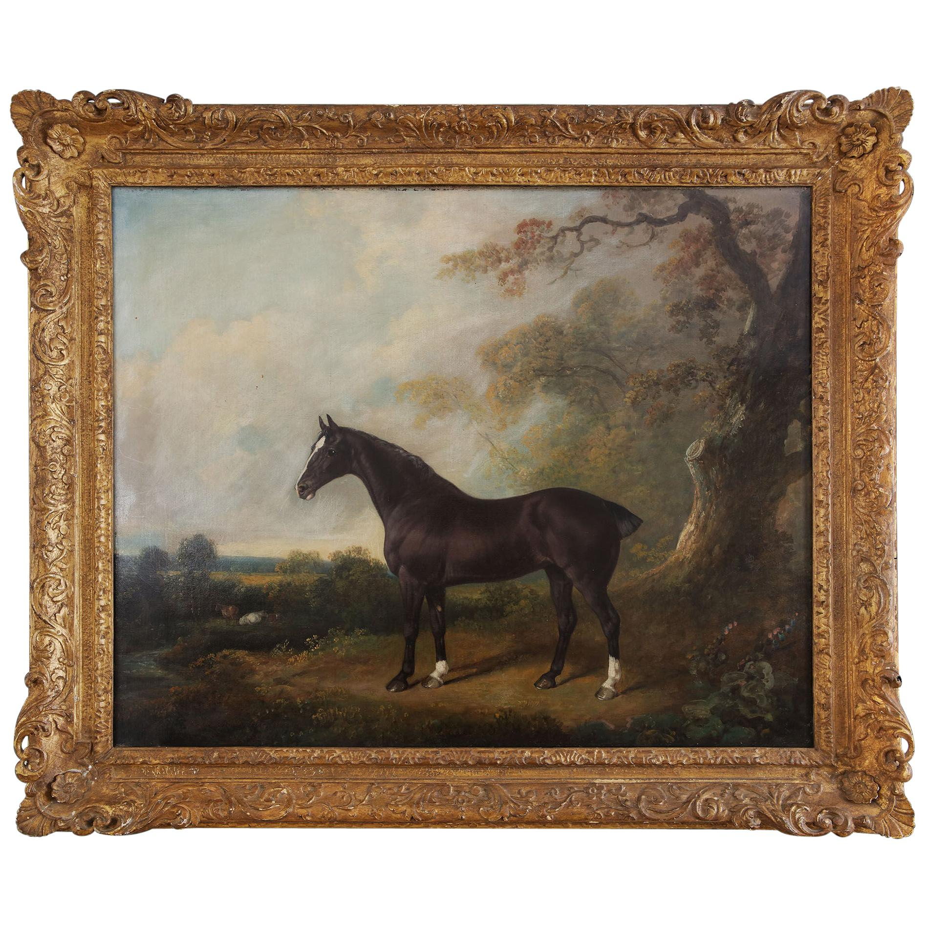 Oil Painting of a Horse Standing Proud in Woodland, signed by the Royal Artist